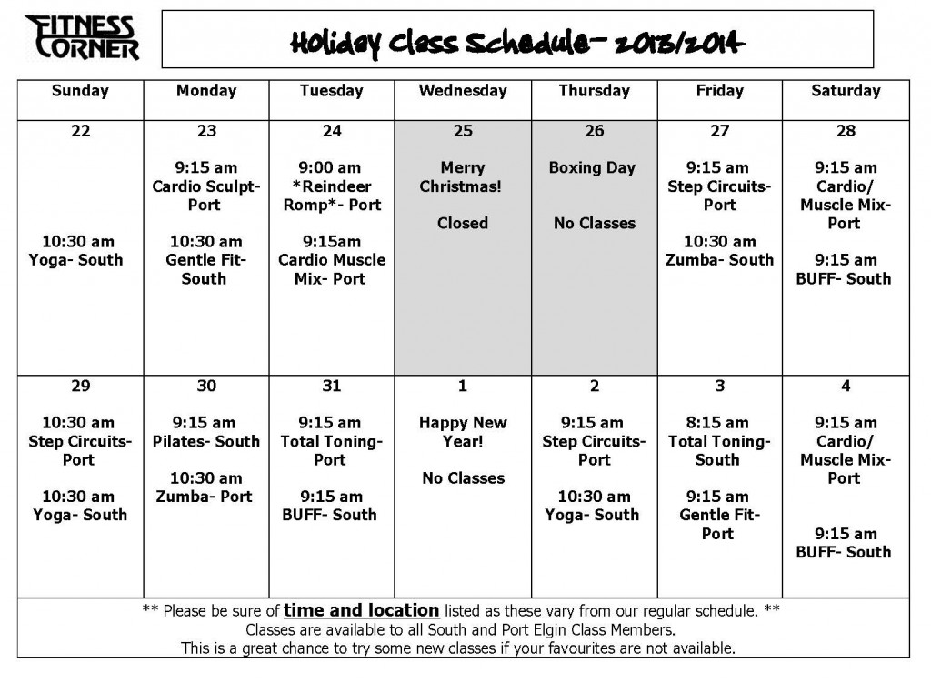 Holiday class schedule