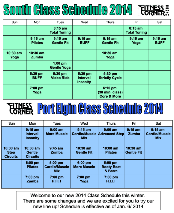 2014 winter class schedules